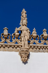 Facade of the Church of St. John the Baptist in Tomar, Portugal