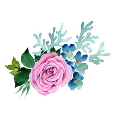 Bouquet flower in a watercolor style isolated. Full name of the plant: rose. Aquarelle wild flower for background, texture, wrapper pattern, frame or border.