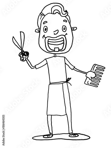 Barber Hairdresser Ilration Cartoon Drawing And White Background