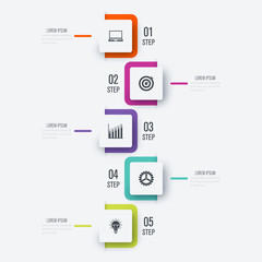 Modern infographics with 5 square