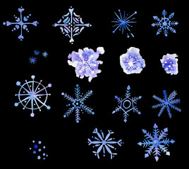 Snowflakes hand painted watercolor clip art winter holidays New Year Christmas  cold weather
