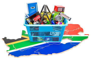 Map of South Africa with shopping basket full of home and kitchen appliances, 3D rendering