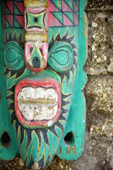 Traditional balinese wooden mask, spiritual and with vibrant colors