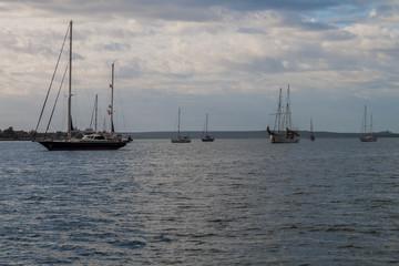 Sailboats in Bahia de Jagua bay near Cienfuegos, Cuba.