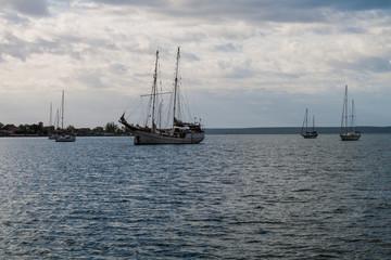 Sailboats in Bahia de Jagua bay near Cienfuegos, Cuba
