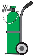 Green portable oxygen tank on a cart ready for use