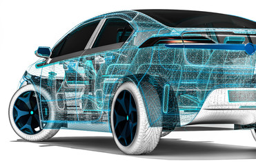 wire frame car / 3D render image of a car in wire frame representing developing of the car