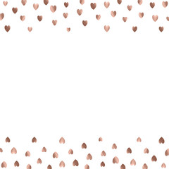 Rose gold glitter beautiful fashion romantic background polka hearts vector background. Pink golden dots confetti frame.