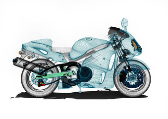 Motorcycle development / 3D render image an motorcycle in wireframe representing motorcycle development.