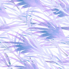 Miami Tropical Watercolour Seamless Pattern. Bohemian Flora Vintage Floral Background. Pink, Purple Violet, Paradise Boho Tropical Watercolour Seamless Pattern. Exotic Palm Leaves Botanical Design