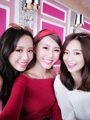 three beauty woman selfie happily