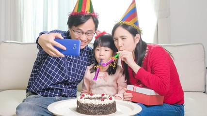 family selfie happily
