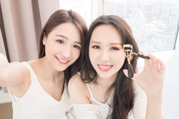 two beauty woman in room