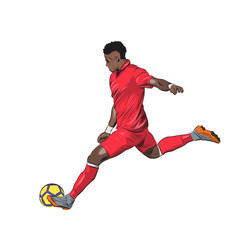 Soccer player in red jersey kicking ball, isolated vector illustration