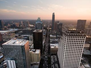 Over Downtown Austin Texas Main Street Traffic Sunset