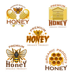 Honey icon with bee, honeycomb, beehive and dipper