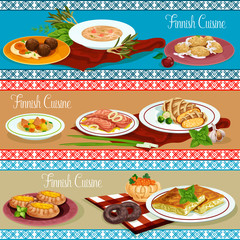 Finnish cuisine restaurant banner with seafood