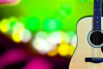 Wood Guitar on Bokeh background