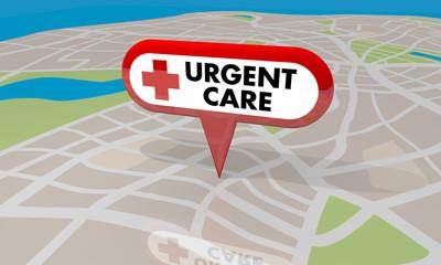 Urgent Care Map Pin Location Sign Emergency Medial Center 3d Illustration