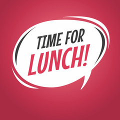 Time for lunch cartoon speech bubble