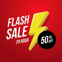 24 hour Flash Sale banner. Vector