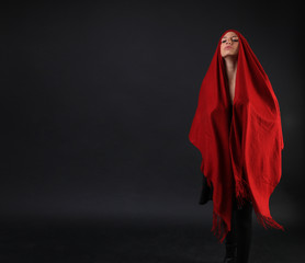 Caucasian Girl in a red poncho