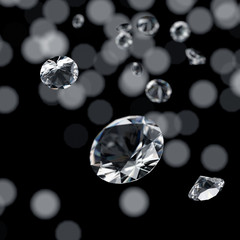 Diamonds group with light bokeh background 3d