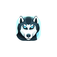 Cute Husky App Icons Logo Vector