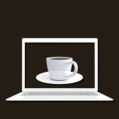 Laptop white color with coffee mock up and clipping path