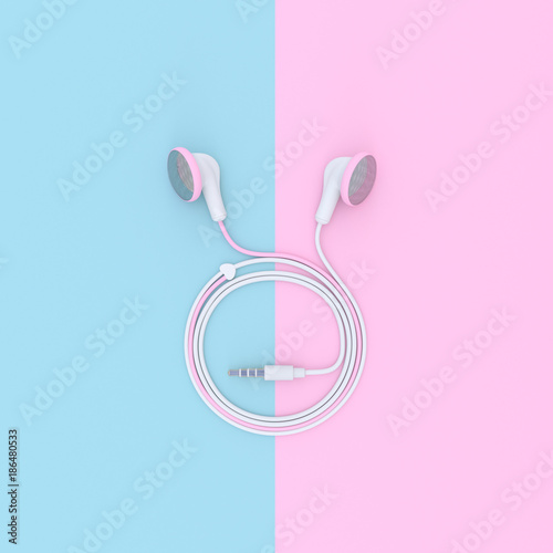pink earphone on blue and pink pastel color background stock photo