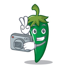 Photographer green chili character cartoon
