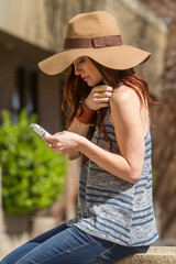 A woman on her mobile phone