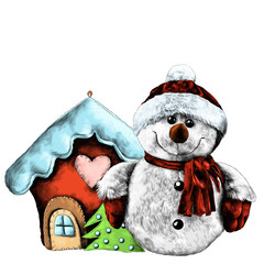 rag snowman near Christmas toy house sketch vector graphics color drawing