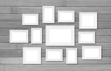 Photo frames mockup, twelve set collection on wooden planks wall, 3D illustration