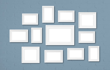 Photo frames mockup, twelve set collection on painted wall, 3D illustration