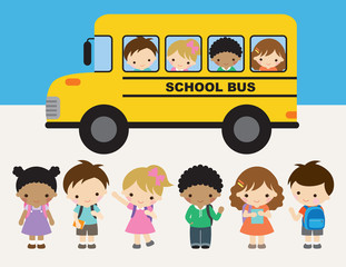School kid in front of school bus on the back to school day vector illustration. Group of kindergarten or elementary school boys and girls.