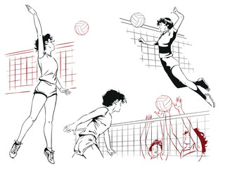 Set of volleyball players. Stock illustration.