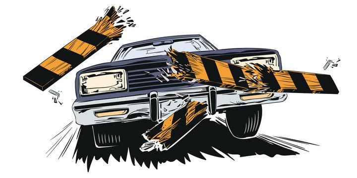 Accident. Car breaking fence barrier. Stock illustration.