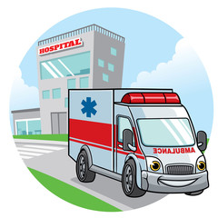 cartoon ambulance car illustration
