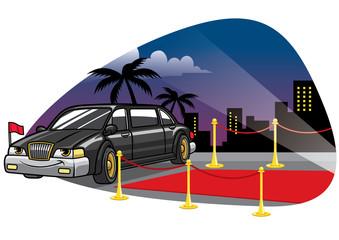 cartoom limousine car at the red caret