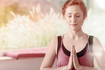 Beautiful woman during meditation