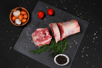 Raw Neck Meat on the Black Table
