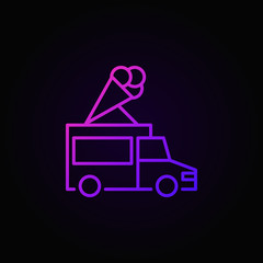 Truck with ice cream vector colored outline icon