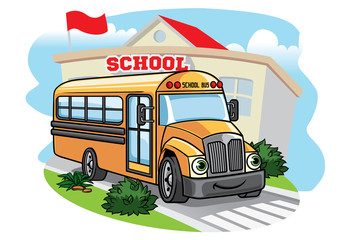 cartoon school bus illustration t the school