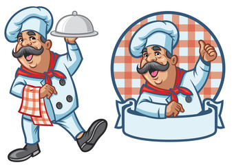 cartoon set of happy chef