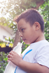 Boy, drink healthy water