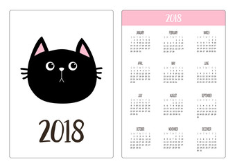 Pocket calendar 2018 year. Week starts Sunday. Black cat head face. Pink nose. Cute cartoon funny character. Kawaii animal. Love pet. Flat design style. White background. Isolated.