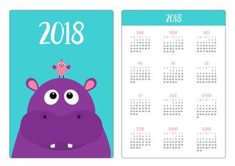 Pocket calendar 2018 year. Week starts Sunday. Hippopotamus head face looking up to bird. Cute cartoon character hippo. Violet behemoth river-horse icon. Baby animal. Flat design. Blue background.