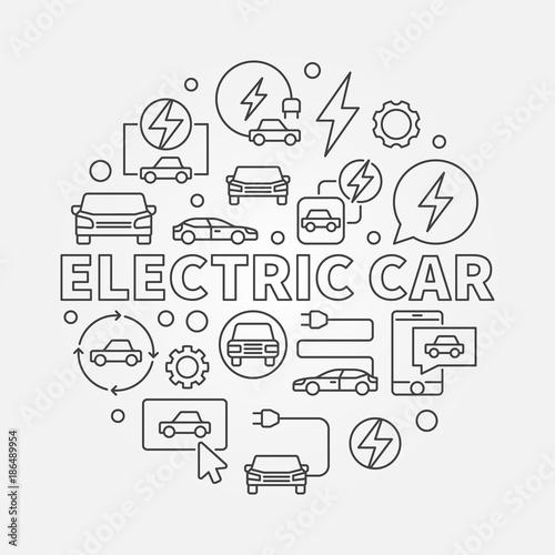 Electric Car Round Illustration Vector Ev Concept Symbol Stock