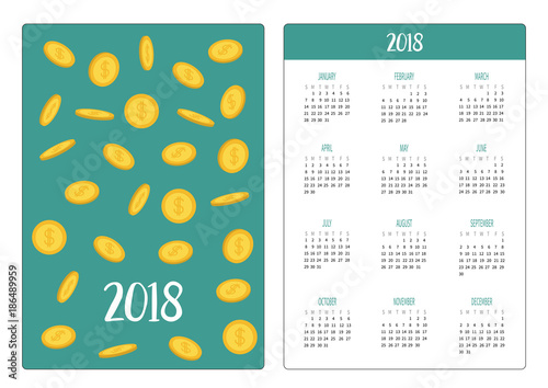 Pocket calendar 2018 year  Week starts Sunday  Golden coin